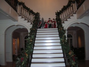 Christmas garland on the staircase