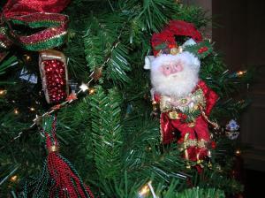 Santa ornament on the Christmas tree